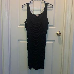 Black Ribbed Mini Dress From Dots